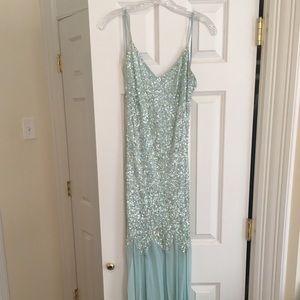 Blue sequin gown!